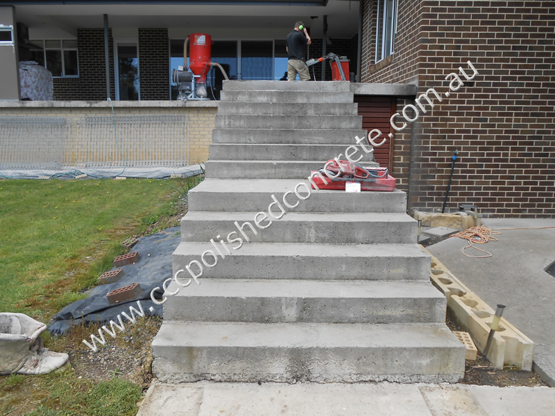 Rough rendered concrete stairs