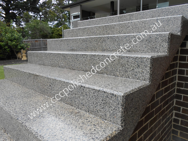 Polished Concrete steps with bevel edges and non-slip sealer
